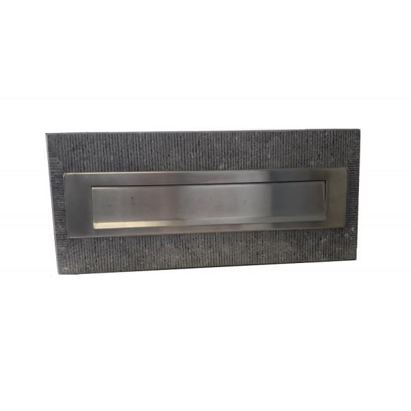 Brievenbusplaat hardsteen rvs klep + gefrijnd